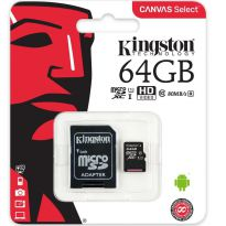 Cartao de Memoria Kingston Micro SD 64gb Canvas Select 80r Uhs-i Classe 10 C/ Adaptador